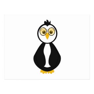 Pingüino Nerdy lindo Postal