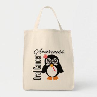 Pingüino oral de la conciencia del cáncer bolsa tela para la compra