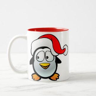 Pingüino Papá Noel Taza De Dos Tonos