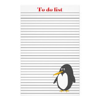 Pingüino para hacer la lista  papeleria de diseño