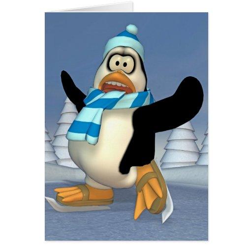 pingüino patinador felicitación