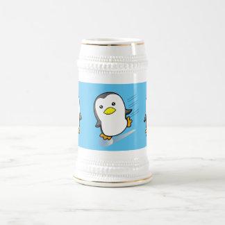 Pingüino patinador jarra de cerveza