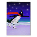 Pingüino patinador tarjeta