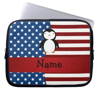Pingüino patriótico conocido personalizado manga portátil