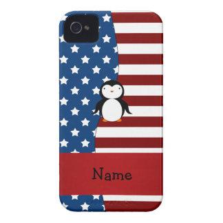 Pingüino patriótico conocido personalizado funda para iPhone 4