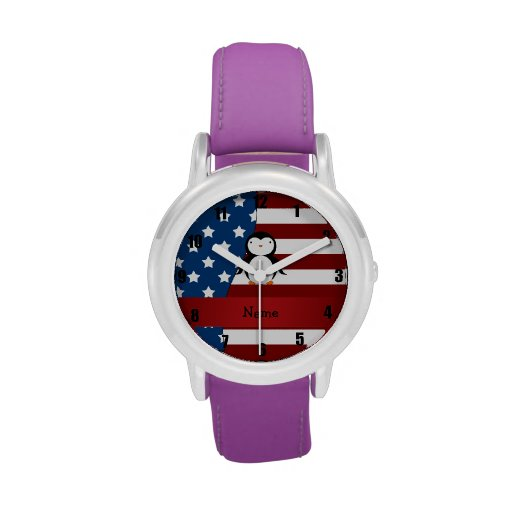 Pingüino patriótico conocido personalizado relojes de pulsera