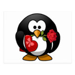 Pingüino pegado amor con los regalos de la tarjeta postal