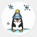 Pingüino Pegatinas Redondas
