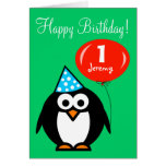 Pingüino personalizado de la tarjeta de cumpleaños