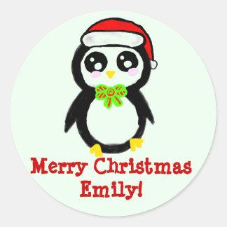 Pingüino personalizado del navidad pegatina redonda