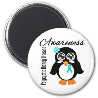 Pingüino policístico de la conciencia de la enferm imanes para frigoríficos