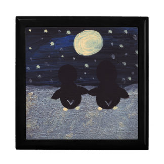 Pingüino por la luz de luna cajas de recuerdo