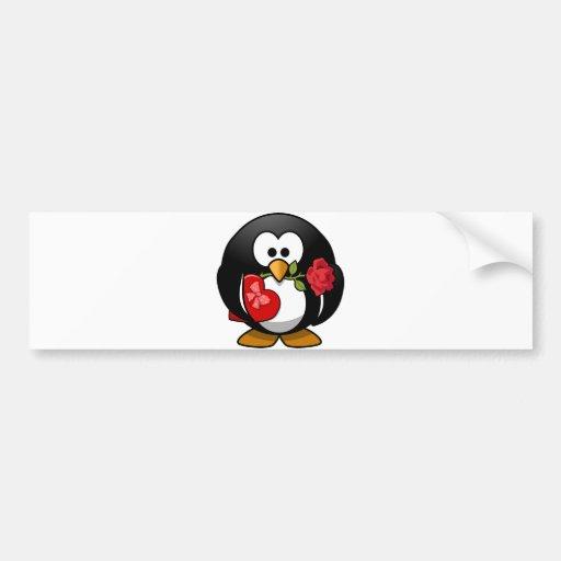 Pingüino precioso de la tarjeta del día de San Val Pegatina Para Auto