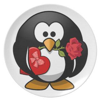 Pingüino precioso de la tarjeta del día de San Val Plato De Cena