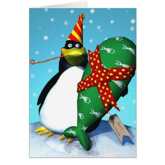 Pingüino presente tarjeta de felicitación