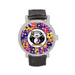 Pingüino púrpura de la cinta relojes de pulsera
