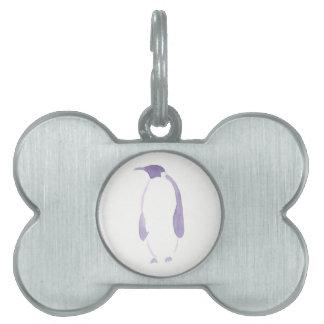 Pingüino púrpura placas de nombre de mascota