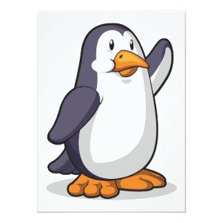 """Pingüino que agita su mano invitación 5.5"""" x 7.5"""""""