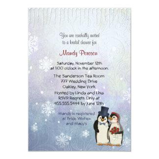 Pingüino que casa la ducha nupcial invitaciones personalizada