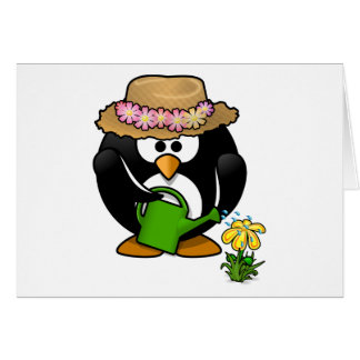 Pingüino que cultiva un huerto tarjeta de felicitación