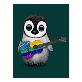 Pingüino que juega el trullo americano de la tarjetas postales