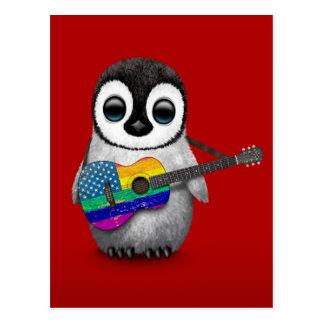 Pingüino que juega rojo americano de la guitarra postal