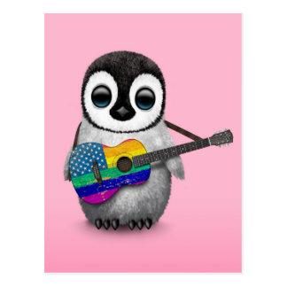 Pingüino que juega rosa americano de la guitarra postal