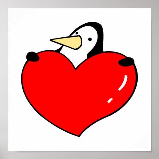 Pingüino que lleva a cabo diseño lindo del corazón póster