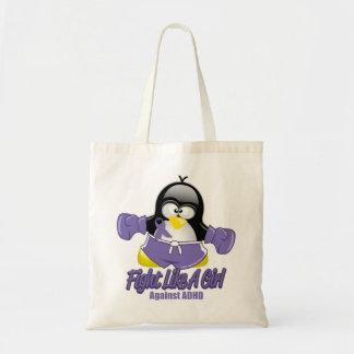 Pingüino que lucha de ADHD Bolsa Tela Barata