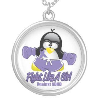 Pingüino que lucha de ADHD Colgante Redondo
