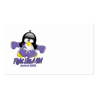 Pingüino que lucha de ADHD Plantillas De Tarjeta De Negocio