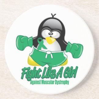 Pingüino que lucha de la distrofia muscular posavasos diseño
