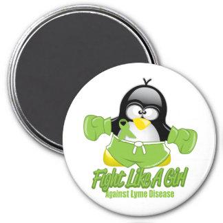Pingüino que lucha de la enfermedad de Lyme Imán Redondo 7 Cm