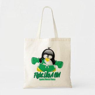 Pingüino que lucha de la enfermedad mental bolsas