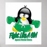 Pingüino que lucha de la enfermedad mental posters