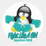 Pingüino que lucha de OCD Pegatina Redonda