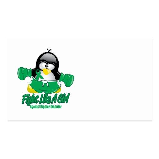 Pingüino que lucha del desorden bipolar tarjetas de visita