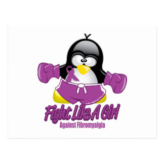 Pingüino que lucha del Fibromyalgia Postales