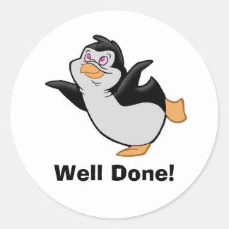 """Pingüino que soña al pegatina """"hecho"""" bien"""