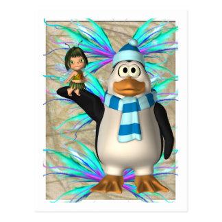 Pingüino que soporta un gráfico de hadas del niño postales
