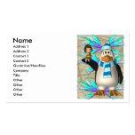 Pingüino que soporta un gráfico de hadas del niño plantilla de tarjeta personal