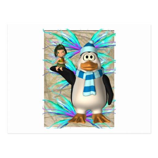 Pingüino que soporta un gráfico de hadas del niño tarjetas postales