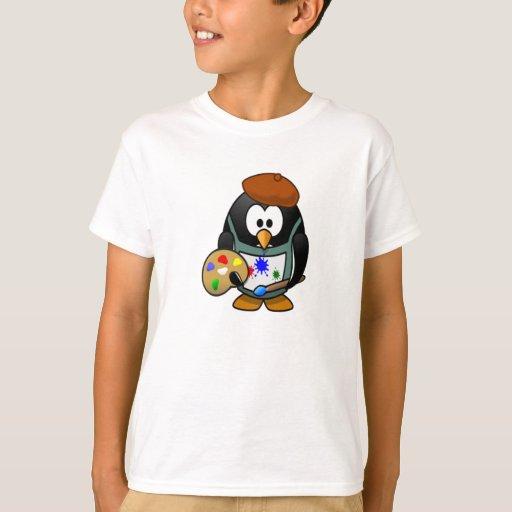 Pingüino que sostiene una paleta del arte playera