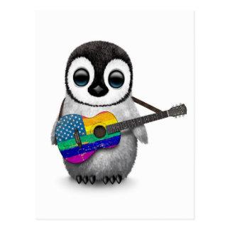 Pingüino que toca la guitarra americana de la tarjeta postal