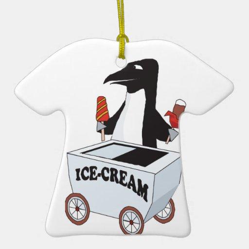 pingüino que vende el helado adorno de cerámica en forma de playera