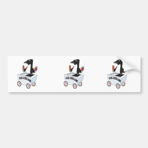 pingüino que vende el helado pegatina para auto
