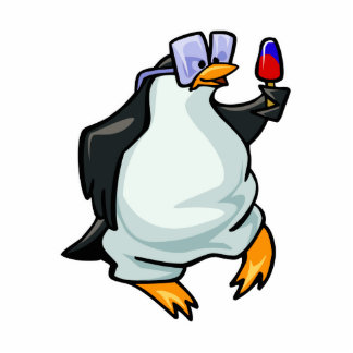 Pingüino rechoncho escultura fotográfica