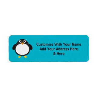 Pingüino rechoncho lindo (personalizable) etiqueta de remite