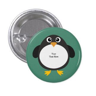 Pingüino rechoncho (personalizable) pin redondo 2,5 cm