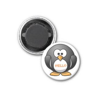Pingüino redondo amistoso lindo del dibujo animado iman de frigorífico